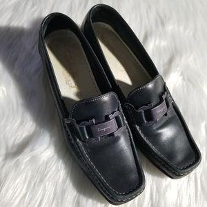 Salvatore Ferragamo navy leather loafers